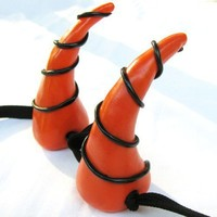 Halloween Dragon Costume Horns in Black and Orange