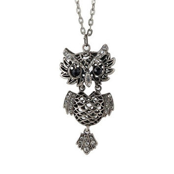 Alarm Security Owl Shaped Pendant Long Necklace (Silver)