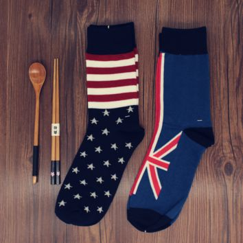 Retro  American Flags Pattern Lovers Cotton In Tube Socks