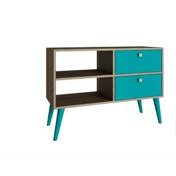 Accentuations by Manhattan Comfort Practical Dalarna TV Stand with 2 Open Shelves and 2- Drawers in Oak and Aqua