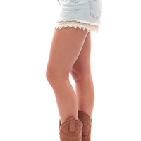 Light Wash High Waist Crochet Detail Shorts