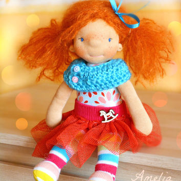 Waldorf doll, waldorf inspired doll, OOAK doll,  rag doll, cuddle doll, fabric doll, cloth doll