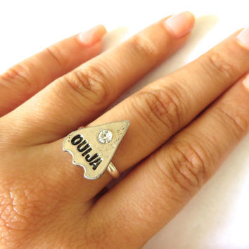 Ouija Board Pointer Charm Midi Adjustable Ring Stacking- Crystal Cabochon Knuckle Finger Jewelry Size 4 5 6 7 8