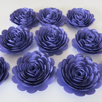 "Violet Roses Set, 10 big artificial paper flowers, Dark Purple 3"" roses,  tea party table centerpiece, Twilight birthday theme night sky"
