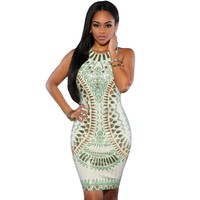 Mint Snake Print Sleeveless Dresses