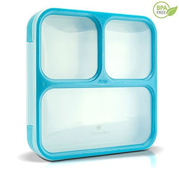 MUNCHBOX Bento Lunch Box - Sleek Edition (Blue) Ultra-Slim Tray Style Leakproof 3-Compartment with Air Tight Seal - Prevents Contents from Mixing and Spilling - Microwavable - Dishwasher Friendly - For Kids & Adults