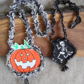 Halloween Pumpkin/Skeleton Fabric Necklace Crochet edge and Chain