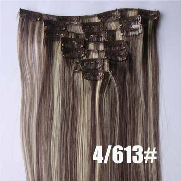 4/613# Bath&Beauty clip in synthetic hair extensions 7pcs/set,90grams hairpieces clip in hair 7pcs Straight hair,curly hairpiece,Hair Care,fashion COSPLAY ombre 1PCS