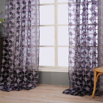 2 x 1 m Lattice Embroidery Curtain Cotton French Window Pastoral Sheer Curtains Tulle Living Room Bedroom Kids Modern Children
