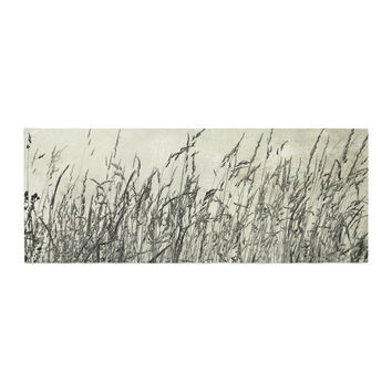 "Iris Lehnhardt ""Summer Grasses"" Neutral Gray Bed Runner"
