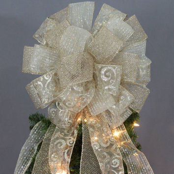 Gold Sparkle Mesh Swirl Christmas Tree Topper Bow