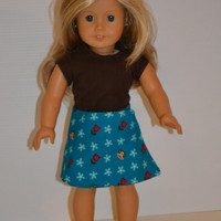 """American Girl Doll Clothes, 18"""" Doll Clothes- Reversable Skirt"""