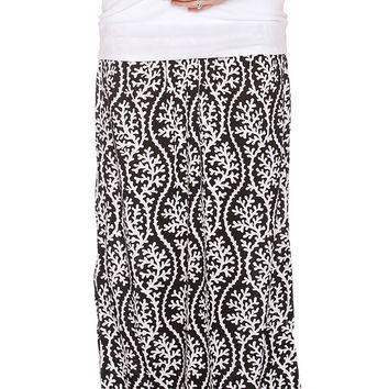 Due Maternity Isabella Pregnancy And Beyond Maxi Skirt - Black/White