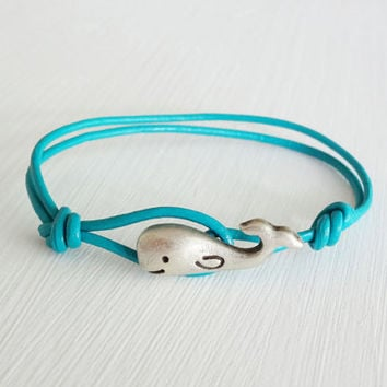 Whale Leather Bracelet - Antique Silver - Genuine Turquoise Leather Cord - 14 Colors Available