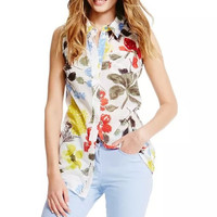 Floral Print Sleeveless Collared Button Up Blouse