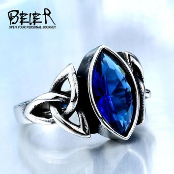 2017 NEW Cool Blue/Red Stone Northern Europe Viking Stainless Steel Ring Vintage Retro Fashion Jewelry  For Man BR8-269