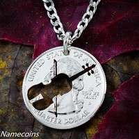 Violin Necklace, musician quarter jewelry