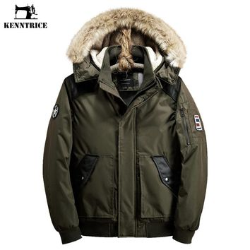 Men's Parka Men Bomber Jacket Male Fur Hood Winter Male Jacket Anorak Windbreakers For Men Army Anorak Military Green Parka