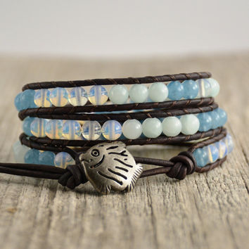 Blue surf beaded beach bracelet. Cute fish button wrap bracelet