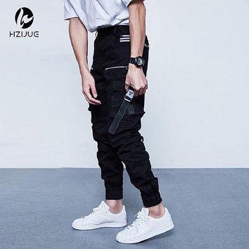 HZIJUE Men's Cargo Pants Casual Mens Pant Multi Pocket Military Overall Men Outdoors High Quality Long Trousers 30-36