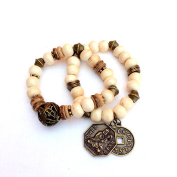 Cream Bone Beads Bracelet, Stretch Bracelet, Women Accessory
