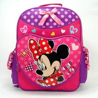 "16"" Full Size Disney Minnie Mouse Pink Polka Backpack (Large School Bag)"