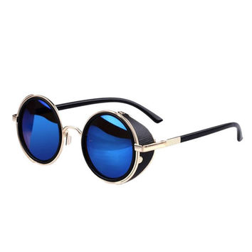 Best Deal New Good Quality 2015 Fashion Summer Mirror Lens Round Glasses Cyber Steampunk Sunglasses Vintage Retro 1pc