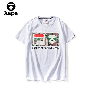 FILA x AAPE joint series 2019 early spring new loose street sports leisure round neck short-sleeved T-shirt white