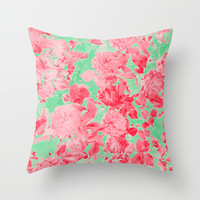 Roses Are Pink Throw Pillow by Shawn King