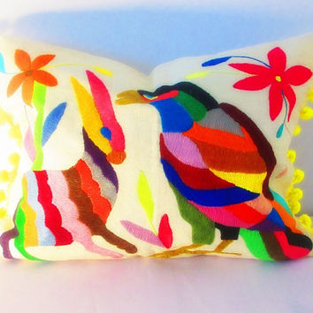 Otomi Tribal Pillow Cover, Colorful Pillow Cover, Bohemian Decor, Boho Bedding, colorful Pillow Cover 14x18