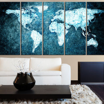 Black and white world map on manhattan from edecorshop on etsy beautiful world map blue background canvas print 5 panel canvas art print world map gumiabroncs Choice Image