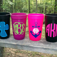Personalized/Monogrammed Super Cute Plastic Cups (Set of 2)