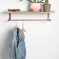4040 Locust Copper Wood Coat Rack Shelf- Copper One