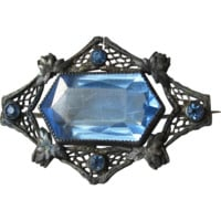 1920's Vintage Art Deco Black Silver Filigree & Blue Paste Rhinestone Glass Pin