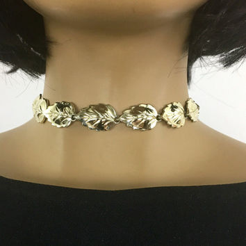 Vintage 1980s D'Orlan Gold Choker Necklace / 80s Oak Leaf Adjustible Length Nature Jewelry Signed