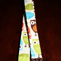 "Fabric Lanyard / ID Holder with owl charm / Urban Zoologie OWL 20"" Drop"