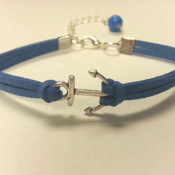 Anchor Bracelet, Suede Leather Anchor Bracelet for Women & Girls feat. Matching Wire Wrapped Bead Dangle - Choose Your Color!