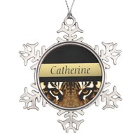 Eyes of a Tiger Snowflake Pewter Christmas Ornament