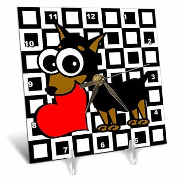 3dRose Miniature Pinscher Has My Heart - Desk Clock, 6 by 6-Inch (dc_6082_1)