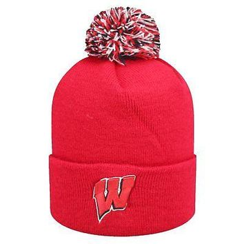 Licensed Wisconsin Badgers Official NCAA Cuffed Knit Lucid Beanie Hat by Top of the World KO_19_1