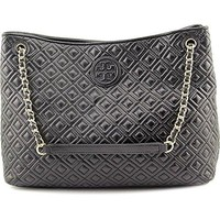 Tory Burch Marion Diamond Quilted Leather Tote Black Handbag