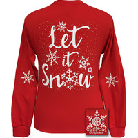 Girlie Girl Originals Let It Snow Holidays Red Long Sleeves T Shirt