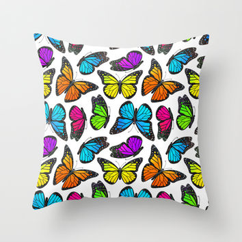 Rainbow Monarch Butterfly Pattern Throw Pillow by Cute To Boot