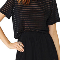 ROMWE Pleated High-waist Loose Sheer Black Shorts