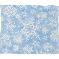 Lisa Argyropoulos Snow Flurries in Blue Fleece Throw Blanket