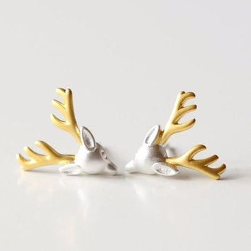ac spbest Silver-plated  earrings for deer antlers earrings lovely girls new statement jewelry christmas gift statement jewelry