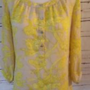 Banana Republic Blouse Top beige Yellow Floral Print Career Size XS X-Small EUC