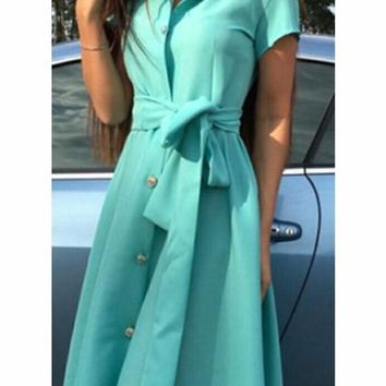 Sky Blue Single Breasted Pockets Sashes Draped Turndown Collar Going out Casual Maxi Dress