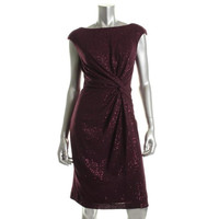 Ralph Lauren Womens   Sequined Knee-Length Cocktail Dress