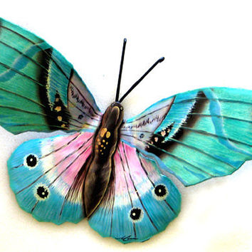 "Aqua Butterfly Metal Wall Decor- 22"" Painted Outdoor Garden Art - Recycled Steel Drums - 516-22-AQ"